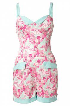 Collectif Clothing - 50s Futura Playsuit Flamingo Print