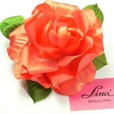 Rosa artificial grande color Nranja Claro Brillante PVP: 3,50€
