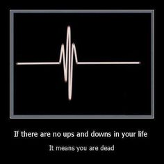 If there are no ups and downs in life it means you are dead. I LOVE this!