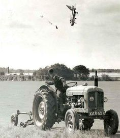 A famous photograph showing test pilot George Aird ejecting from a pre-production example of the English Electric Lightning fighter in September 1962.     Fortunately the pilot survived after coming down in a greenhouse full of tomatoes. He suffered multiple breaks of his limbs and cuts from the shower of glass that rained down on him after going through the roof of the greenhouse.