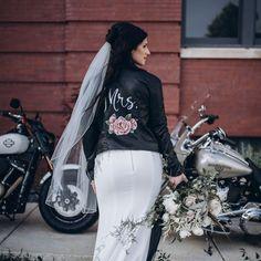 Leather jacket for bride - cool wedding jacket- KimberlyGeorgeArt custom hand painted jacket, from $70, Etsy - See more bridal jackets on WeddingWire! Denim Wedding, Wedding Jacket, Boho Wedding, The Knot, Hailey Baldwin, Kim Kardashian, Painted Leather Jacket, Custom Leather Jackets, Bridal Hat