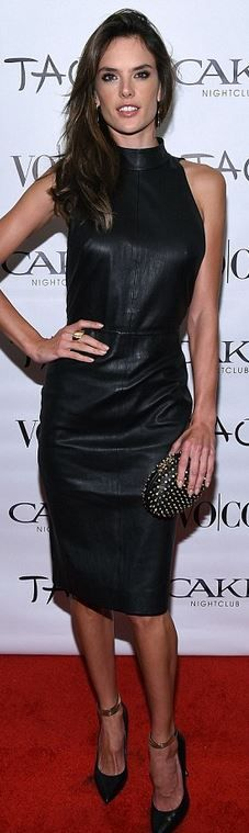 Who made Alessandra Ambrosio's black leather dress, gold jewelry, and spike clutch handbag?