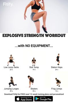 Hiit Workout At Home, Gym Workout For Beginners, Gym Workout Tips, Workout Videos, Fat Workout, Plyometric Workout, Tabata, Explosive Workouts, Strength Workout