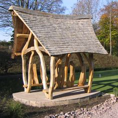 Altham Oak created a number of External Oak Shelters and Handcrafted Oak Structures for Gerald's Garden including Oak Shelters and Oak Carvings.
