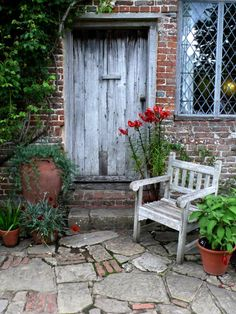 The Cottage Garden at Sissinghurst, Vita Sackville-West& home in Kent, England, is full of opulent color and rich scent: a place to sit at the end of the day, while watching the sun go down. Garden Cottage, Home And Garden, Vita Sackville West, Crazy Paving, Ideias Diy, Brick Patios, Brick And Stone, Stone Path, Interior Exterior