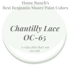Chantilly Lace Benjamin Moore is a crisp white that's not too cold. Home Bunch's Best White Benjamin Moore Paint Colors Trim Paint Color, White Paint Colors, Paint Colors For Home, Benjamin Moore Cloud White, Benjamin Moore Paint, White Exterior Paint, Exterior Paint Colors, Best White Paint, White Paints