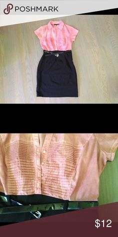 Pink Marbled and Black Button-Up Dress sz M Stunning dress combo...button up to the collar and cutesy pleats on the chest. Belt cinches at the waist. Size M. Used great condition. Mlle Gabrielle Dresses Midi