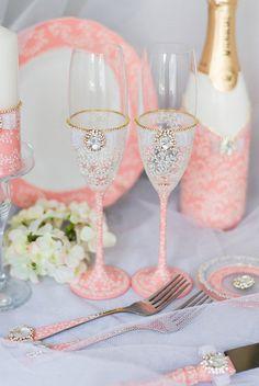 Coral Wedding Champagne Glasses