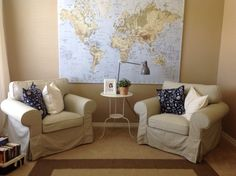 My very own Reading room. Ikea map.