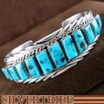 Navajo Indian Jewelry Genuine Sterling Silver and Sleeping Beauty Turquoise Tommie Tso Bracelet