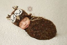 PDF Crochet Sleepy Owl Hat and Swaddle Sack Cocoon Pattern on Etsy, $6.99