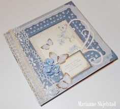 A blue butterfly card by Marianne using the Linnaeus Botanical Journal collection