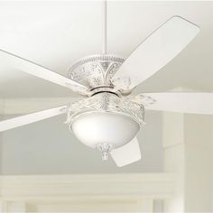 Casa Montego Vintage Chic Ceiling Fan with Light LED Dimmable Rubbed White Etched Glass Bowl Shades for Living Room Kitchen Bedroom Family Dining - Casa Vieja Caged Ceiling Fan, White Ceiling Fan, Ceiling Fan Chandelier, Ceiling Lamp, Chandeliers, Bedroom Fan, Bedroom Ideas, Master Bedroom, Master Suite