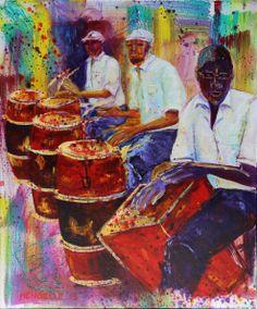 des joueurs de congas à Cuba. Peinture de Françoise Mengelle