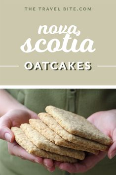 Nova Scotia Oatcakes are crisp like a shortbread cookie or cracker, lightly sweetened, just a smidge salty, and make a great snack! Try this easy recipe . Donuts, Canadian Cuisine, Canadian Food, Road Trip Food, Cookies Et Biscuits, Savoury Biscuits, Cheese Biscuits, Cookie Recipes, Deserts