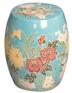 The Blue Flower Garden Stool with large floral motifs will compliment the look of a garden perfectly. This Asian inspired stool is made out of ceramic and is completely hand-glazed. Ceramic Stool, Ceramic Garden Stools, Asian Inspired Decor, Asian Decor, Seaside Home Decor, Beach House Decor, Outdoor Stools, Garden Seating, Garden Chairs
