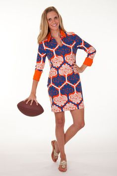 Fall in LOVE with our Lana Shirt Dress!-Royal/Orange  www.tracynegoshian.com  GAMEDAY Pocket at right hip!