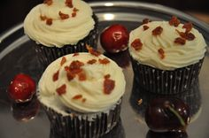 Chocolate Caramel Bourbon Cupcakes with Vanilla Bourbon Frosting and Sweet Spicy Bacon