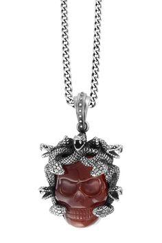 Sterling Silver & Carved Red Agate Skull Large Medusa Pendant Necklace