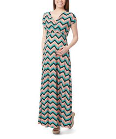 Another great find on #zulily! Coral & Mint Chevron Cap-Sleeve Maternity Maxi Dress by GLAM #zulilyfinds