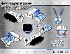 Moto-StyleMX graphics kit as shown. Yamaha Yzf, Dirt Bikes, Custom Design, Graphics, Kit, Decals, Tags, Graphic Design, Sticker