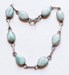 Vintage Sterling Silver & Light Blue Agate Link Bracelet by paststore on Etsy