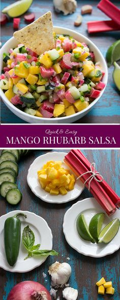 Quick & Easy Rhubarb Salsa - Your kids won't even know what's in it! #skinnymom #healthyliving