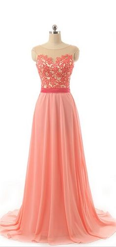 Long Prom Dress, Lace Prom Dress, Chiffon Prom Dress