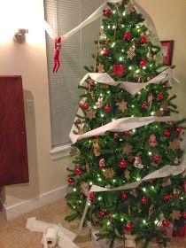 Katie Raines: Elf on the Shelf tp'ing the xmas tree