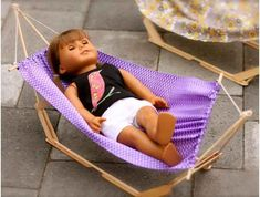 Check out this DIY Hammock for an American Girl Doll! Plus 39 other American Girl Doll DIYs That Won't Break The Bank.