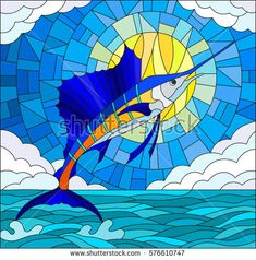 Illustration in stained glass style with a sailfish on the background of water ,cloud, sky and sun