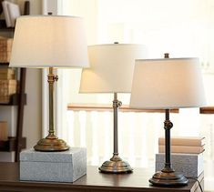 Wow, what a great basic lamp, in three terrific finishes, plus it's adjustable!   -  Pottery Barn