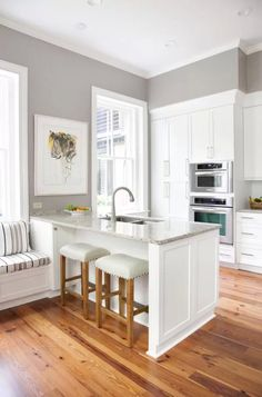 white and grey kitchen! Small kitchen remodel with white cabinets and island Kitchen Redo, New Kitchen, Kitchen Remodel, Kitchen Layout, Kitchen Small, Smaller Kitchen Ideas, Kitchen Living, Cosy Kitchen, Barn Kitchen