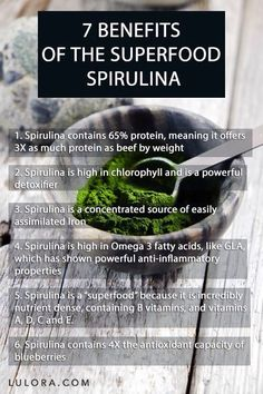 Benefits of spirulina more nutritional benefits than meat and a single vegetable serving! Look into organic spirulina tablets or ground spirulina to include in smoothies and juices :) Health And Nutrition, Health And Wellness, Health Fitness, Health Zone, Nutrition Products, Get Healthy, Healthy Tips, Healthy Weight, Coconut Health Benefits