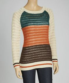 Take a look at this Oatmeal & Teal Raglan Sweater by MAK on #zulily today!