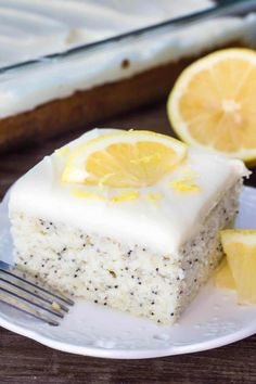 This Lemon Poppy Seed Cake with Cream Cheese Frosting is soft, moist & deliciously buttery with a fresh lemon flavor. Dotted with poppy seeds & topped with cream cheese frosting – it's the perfect dessert for lemon lovers! Lemon Curd Dessert, Lemon Recipes, Sweet Recipes, Baking Recipes, Avocado Recipes, Salad Recipes, Frosting Recipes, Cake Recipes, Dessert Recipes