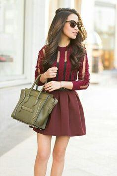 Fall fashion the dress :) I Love Fashion, Fashion Beauty, Autumn Fashion, Fashion 2014, Fashion Outfits, Cute Dresses, Cute Outfits, Burgundy Dress, Maroon Dress