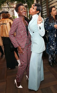"""Lupita Nyong'o & Janelle Monae from The Big Picture: Today's Hot Photos The actress and singer both look fantastically chic at Monáe's """"Fem the Future"""" brunch in Los Angeles. Suit Fashion, High Fashion, Fashion Outfits, Fashion Black, Style Noir, Mode Style, Mode Costume, Divas, Suits For Women"""