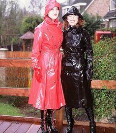 Red  Black PVC Raincoats  Hats