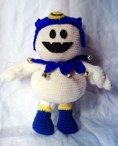 I was just bored one day and decided to crochet Jack Frost from Persona :p I tried to get photos of how he looks all around. He's somewhat poseable…Fingers can bend and hat is detachable for now....