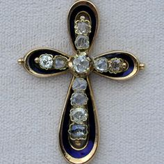 Antique Victorian Gold and Blue Enamel Rose Cut Diamond Cross Pendant
