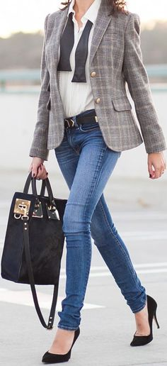 Working Weekend Style. white button down + plaid blazer + jeans