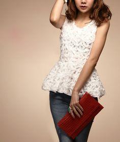 c3e5e10141e Crochet Flower Shirred Waist White Vest