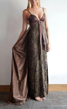 Egon von Furstenberg Brown And Gold Satin And Jacquard Dress | VAUNTE
