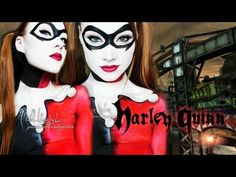 ▶ Harley Quinn - Batman (Makeup/Body Paint Tutorial) - YouTube - Not doing this, but this is fricken sweet!