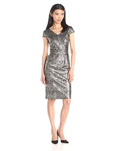 Betsey Johnson Women's Textured Knit Dress with Foil Print *** You can get more details here : Evening dresses Casual Dresses For Women, Cute Dresses, Dresses For Work, Clothes For Women, Bride Dresses, Women's Dresses, Glitter Dress, Metallic Dress, Womens Cocktail Dresses