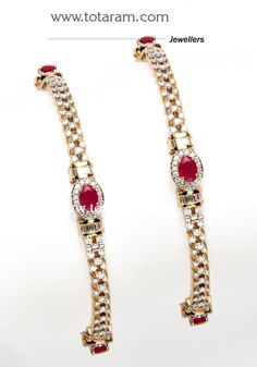 Diamond Bangles in 18K Gold with Ruby - 1 pair