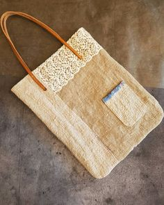 with sewing ( Cute Tote Bags, Tote Purse, Reusable Tote Bags, Linen Bag, Simple Bags, Cotton Bag, Hand Quilting, Bag Making, Purses And Bags