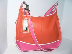 Tignanello Bright Pink Fuschia Orange Crossbody Pebbled Leather Handbag  #Tignanello #Satchel