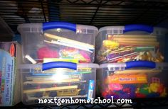 themed busy bins: vehicles, shapes, numbers, letters...